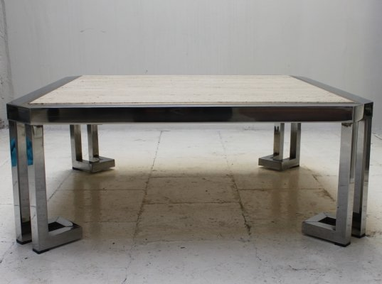 Travertine coffee table with chrome & messing finish