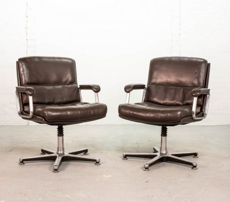 Deep Brown Leather Desk / Side Chairs by Drabert, Germany 1970s