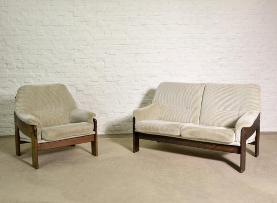 Midcentury Design Velvet Two-Seat Coja Sofa & Chair, The Netherlands 1970s