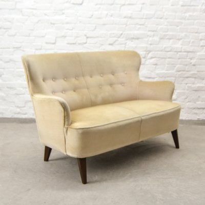 Mid-Century Design Two-Seat Soft Yellow Velvet Sofa by Theo Ruth for Artifort, 1950s