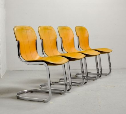 Set of 4 Italian Design Yellow Leather Dining Chairs by Willy Rizzo for Cidue, 1970s