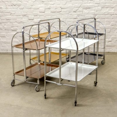 Foldable & Mobile 'Dinett' Serving Trolleys by Gerlinol, Germany 1970s