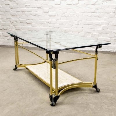 Mid-Century Hollywood Regency Brass, Glass & Travertin Coffee Table, 1970s