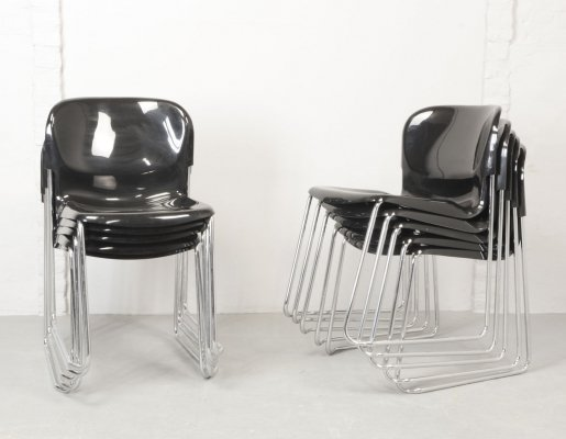 Shiny Black Stackable Dining / Conference Chairs by Gerd Lange for Drabert, 1980s