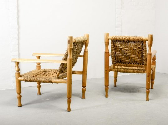 Pair of Mid-Century French Design Wood & Wooven Sisal Easy Lounge Chairs, 1960s