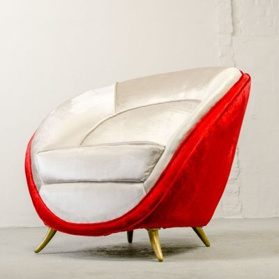 Italian Design Velvet Club Chair by Guglielmo Veronesi for ISA, Bergamo 1950s