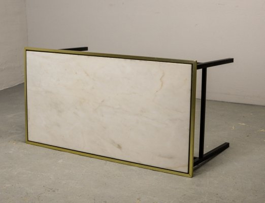 Mid-Century Design Coffee Table with White Marble Top & Brass Rim, 1950s