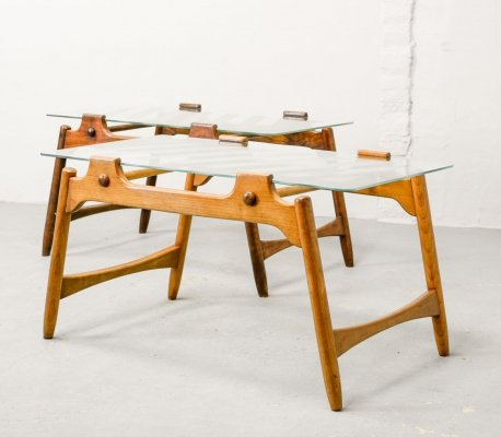 Mid-Century Design Solid Wood Coffee Tables with Sandblasted Glass Top, 1950s