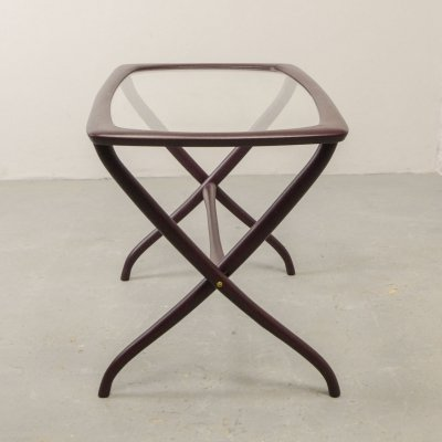 Italian Design Side Table with Wooden Scissor Frame & Glass Top, Italy 1950s