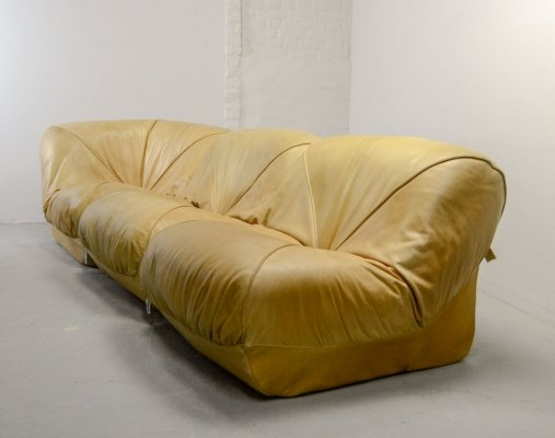Modular 3-Piece Camel Leather Airborne Sofa, Model 'Patate', France 1970s