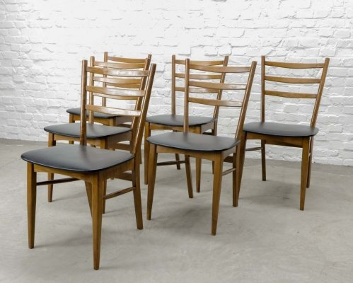 Set of Six Solid Wooden Ladder Dining Chairs with Black Leatherette Seating, 1960s