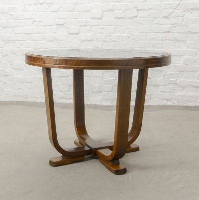 Solid Wood Art Deco Side Table with Black Glass Top, 1950s