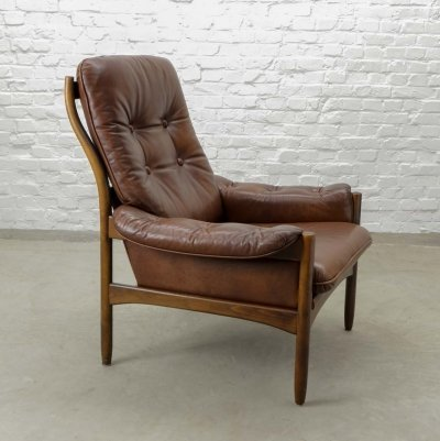 Scandinavian Design Chestnut Leather Lounge Chair by G-Möbel, Sweden 1960s