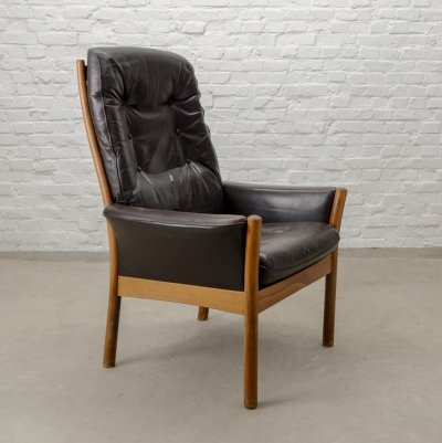 Scandinavian Design Brown Leather Lounge Chair by G-Möbel, Sweden 1960s