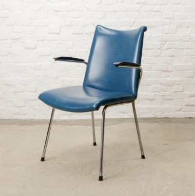 Dutch Design Blue Leatherette Arm/Dining Chairs by Gebroeders De Wit, 1960s