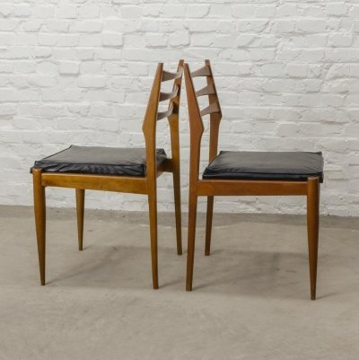 Four Solid Wood Ladder Dining Chairs with Square Leatherette Seating, 1960s