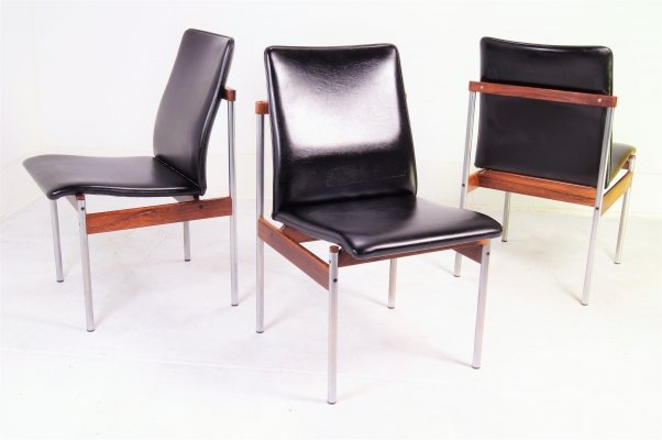 Rosewood & Metal Thereca Dining or Conference Chairs, 1960s