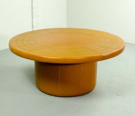 Laauser Cognac Leather Patchwork Round Coffee Table, Germany 1970s