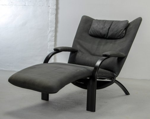 Midcentury Nubuck Leather Lounge Chair by Stephan Heiliger for WK Wohnen, 1980s