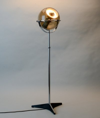 Dutch Design Smoked Glass Globe Floorlamp by Frank Ligtelijn for Raak, 1960s
