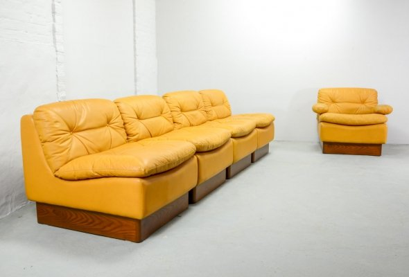 Mid Century Design Yellow Leather Modular Sofaset by Dreipunkt , Germany 1970s