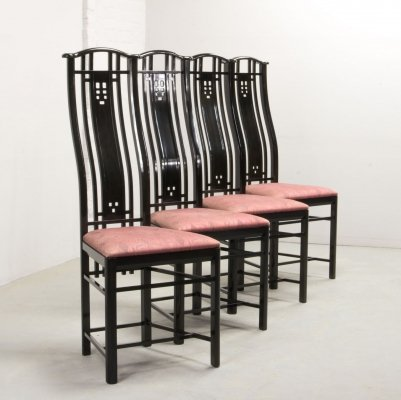 Set of 4 High Back Black Lacquered dining chairs by Giorgetti, Italy 1980s