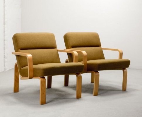 Danish Design Beech Plywood Arm Chairs by Rud Thygesen for Magnus Olesen, 1960s