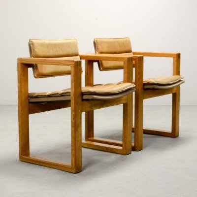 Dutch Design Leather Cubic Pinewood Arm Chairs by Ate van Apeldoorn, 1960s