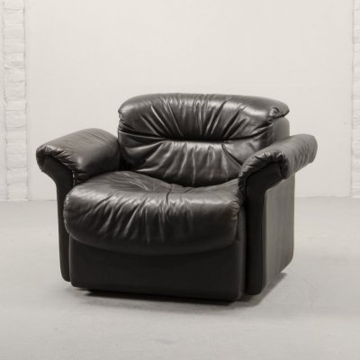 Mid-Century Design Blackish Brown Leather Lounge Club Chair by De Sede, 1970s