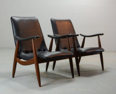 Mid Century Dutch Design Lounge Chairs by Louis van Teeffelen for Webe, 1960s