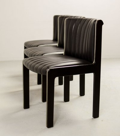 Set of 6 Mid Century Design Blackish Brown Leather Dining Chairs by Benze, 1970s