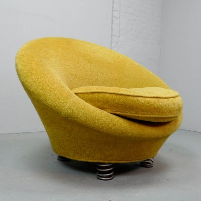 Mid Century Design Yellow Coil Spring 'Loop' Chair by Bretz, Germany 1980s