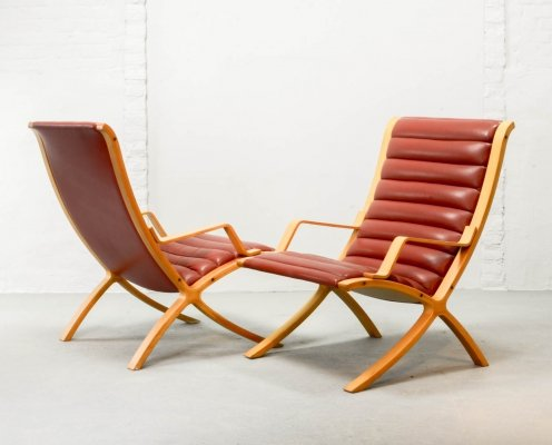 Mid Century Scandinavian Design Red Leather AX Chairs for Fritz Hansen, 1960s