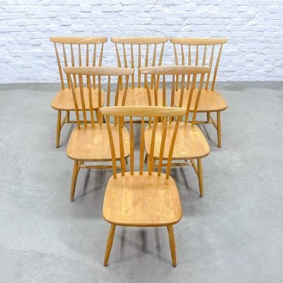 Mid-Century Scandinavian Design Spindle Dining Chairs by Bengt Akerblom, 1960s