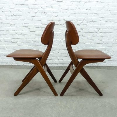 Mid Century Dutch Design Leatherette Dining Chairs by Louis van Teeffelen for Webe, 1960s