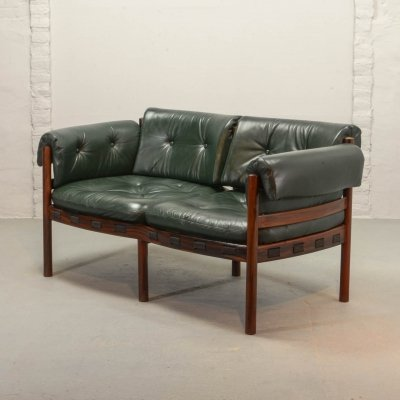 Mid Century Design Rosewood & Green Leather Sofa by Sven Ellekaer for Coja, 1960s