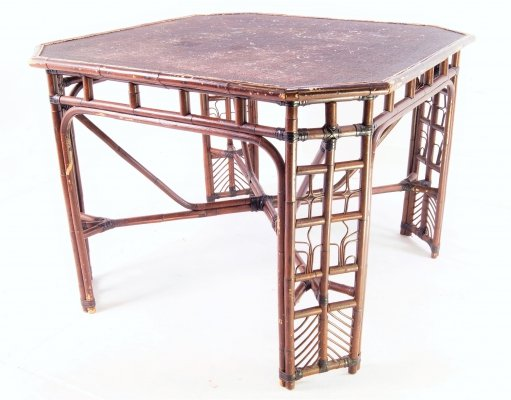 Handcrafted 1950's Italian Rattan & Bamboo table