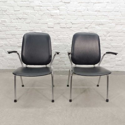 Dutch Chrome & Black Leatherette Armchairs by Martin de Wit for Gispen, 1960s