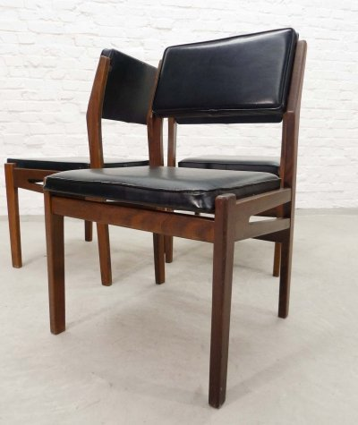 Dutch Design Teak Wood & Black Leatherette Dining Chairs by Topform, 1960s