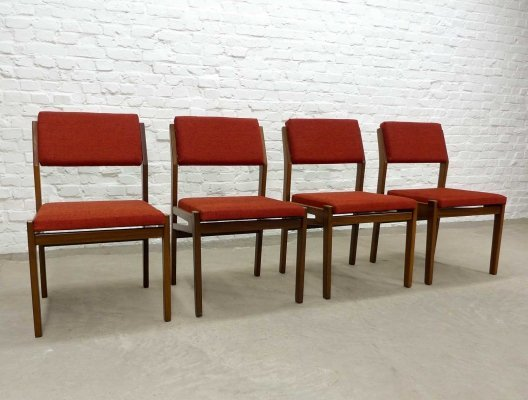 Mid Century Dutch Design Teak Wood & Stone Red Fabric Dining Chairs by Topform, 1960s
