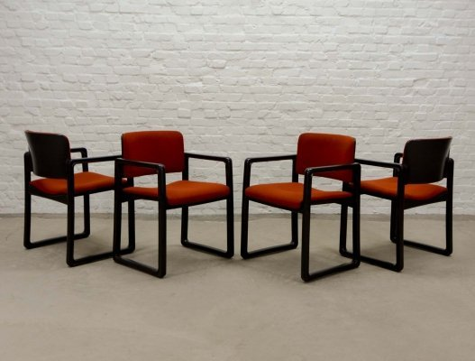 Dutch Design Dining Arm Chairs 'Ypsilon' by Just Meyer for Kembo, 1970s
