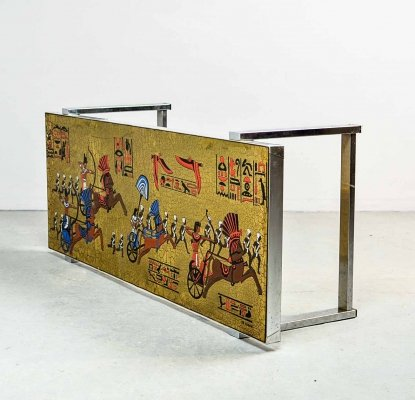Mid Century Design Egyptian Decorated Coffee Table by De Nisco, 1970s