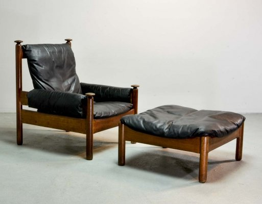 Mid Century Scandinavian Design Leather Lounge Chair with Ottoman, 1960s