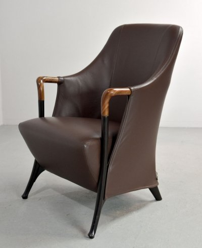 Mid-Century Italian Design Leather 'Progetti' Lounge Chair by Umberto Asnago for Giorgetti, 1980s