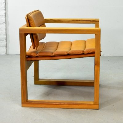 Mid Century Design Cubic Pinewood & Leather Armchair by Ate van Apeldoorn, 1970s