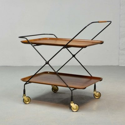 Minimalistic Mid-Century Design Teak & Steel Tea Trolley by Paul Nagel, 1950s