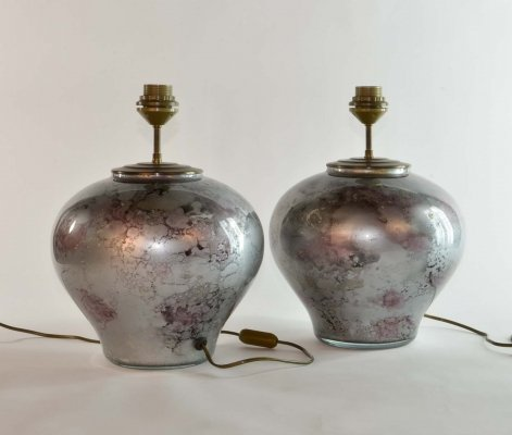 Exclusive French Design Lilac Silver Art Glass 'Laque Line' Table Lamps, 1970s