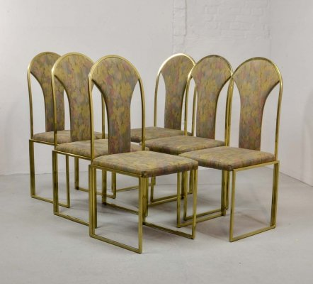 Mid Century Design Luxurious Brass Dining Chairs by Belgo Chrome, 1970s