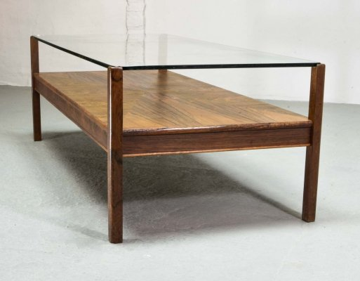Mid Century Dutch Design Rosewood Coffee Table with Glass Top for Fristho, 1960s