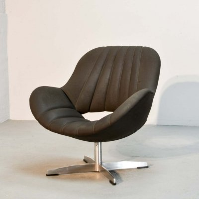 Mid Century Dutch Design Seal Brown Leatherette Lounge Chair by Rohé, 1960s